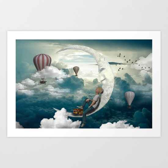 The boy and moon Art Print