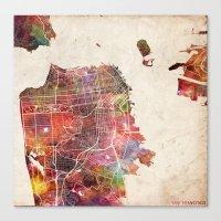 san francisco Canvas Prints featuring San Francisco map by MapMapMaps.Watercolors