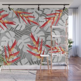 Heliconia Flower with white Monstera Leaves Wall Mural
