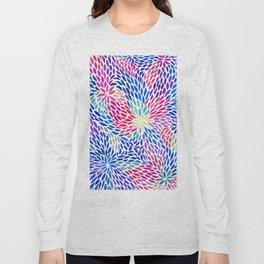 Flowing Leaves Purple & Blue Pattern Long Sleeve T-shirt