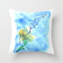 Mermaid and Dolphin - Nautical Ocean Art Throw Pillow