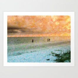 Beach Talks Art Print