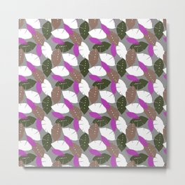 Multicolored Pink, Green and White Leaf Pattern Metal Print