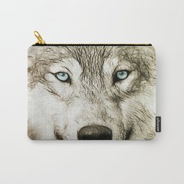 Smokey Sketched Wolf Wildlife Wolves Art Carry-All Pouch