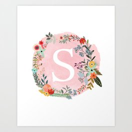 Flower Wreath with Personalized Monogram Initial Letter S on Pink Watercolor Paper Texture Artwork Art Print