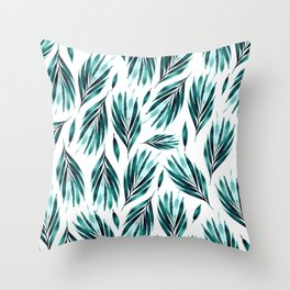Blue leaves in a nunch Throw Pillow