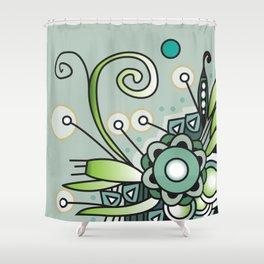 Ornate square zentangle, Jade Color Shower Curtain