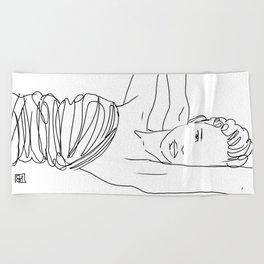 Line Art Lady Beach Towel