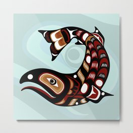 Salmon, Salish Seasons Metal Print