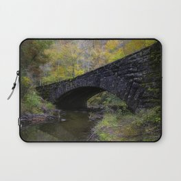 Laurel Creek Bridge - Autumn Colors Surround a Stone Bridge in Smoky Mountains Laptop Sleeve