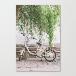 Bike Under the Willows - Suzhou China Canvas Print