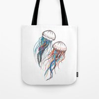 jellyfish Tote Bags featuring JellyFish by Ana Grigolia