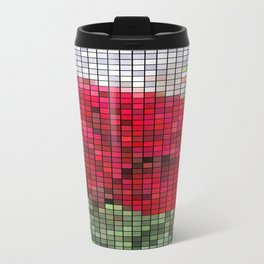 Red Rose Edges Mosaic Travel Mug
