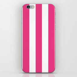 Cerise pink - solid color - white vertical lines pattern iPhone Skin