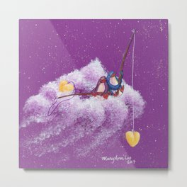 Penguins in Love Fishing Together on Their Cloud in a Pink Sky Metal Print