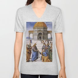 The Delivery of the Keys Painting by Perugino Sistine Chapel Unisex V-Neck