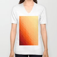 orange pattern V-neck T-shirts featuring Orange Ombre by Simply Chic