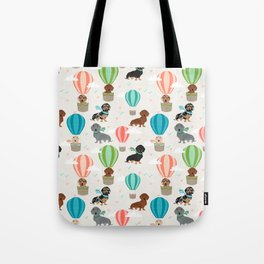 Dachshund hot air balloon dog cute design fabric doxie pillow decor phone case Tote Bag