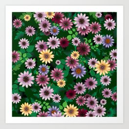 Multicolored natural flowers Art Print