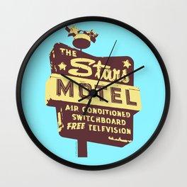 Seeing Stars ... Motel ... (Blue Background) Wall Clock