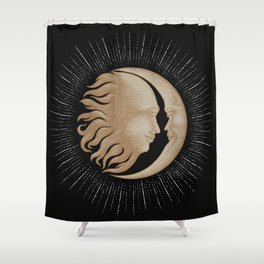 Face in sun and moon hand drawing vintage engraving money line detail style Shower Curtain