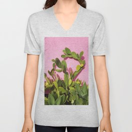 Pink Wall/Green Cactus  Unisex V-Neck