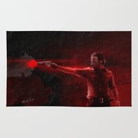 rick grimes Area & Throw Rugs featuring The Walking Dead Rick Grimes oil painting effect by Roboz