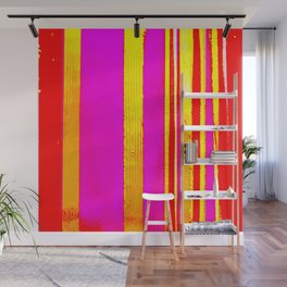 pink red yellow white stripes Wall Mural
