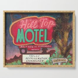 Hill Top Motel Route 66 painting Serving Tray