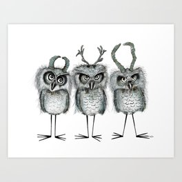 Owls with Horns Art Print