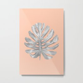 White Marble Monstera on Peach Wall Metal Print