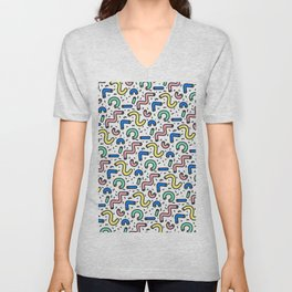 80s - 90s KEITH HARING STYLE SQUIGGLE PATTERN Unisex V-Neck