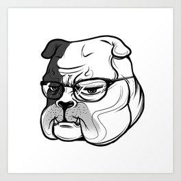 pitbull with glasses Art Print