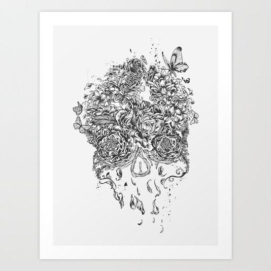 Skull Flower Art Print