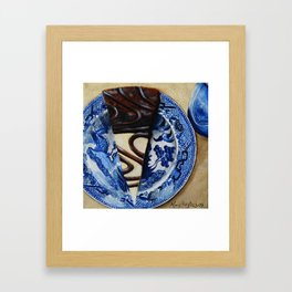Brownie Cheesecake on Blue Willow Plate Framed Art Print