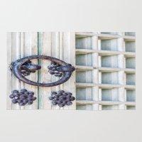 korean Area & Throw Rugs featuring Korean Palace Doors II by Jennifer Stinson