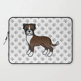 Cute Brindle Boxer Dog Cartoon Illustration Laptop Sleeve