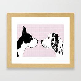 Great Dane Dog with Dalmatian Dog Framed Art Print