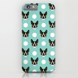 Logan - Boston Terrier pattern polka dots dog print gift for dog person dog lovers terrier custom iPhone Case