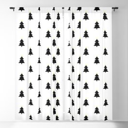 Christmas Tree black and white Blackout Curtain