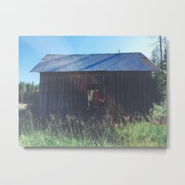 exploring an abandoned building while backpacking Metal Print