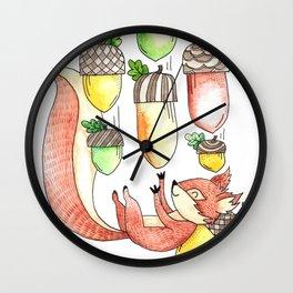 Squirrel Catching Fall Acorns Wall Clock