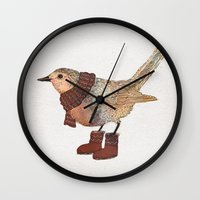 robin williams Wall Clocks featuring Robin by David Fleck