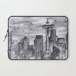 Seattle Skyline Watercolor Space Needle Washington PNW Laptop Sleeve