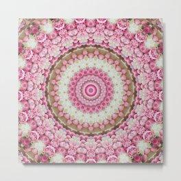 Pink Floral Mandala Metal Print