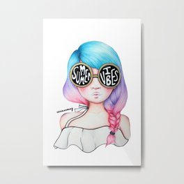 Summer Vibes Colourful Hair Girl Drawing Metal Print