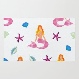 Watercolor Mermaids Rug