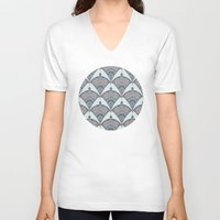 deco V-neck T-shirts featuring Deco Doodle in Aqua, Cream & Navy Blue by micklyn