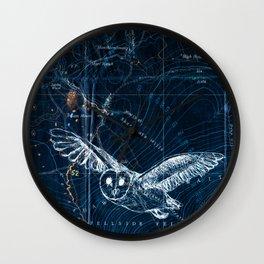 Owl at night, Blue Wall Clock