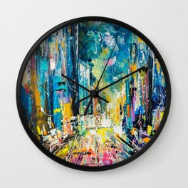 Evening on fifth avenue Wall Clock